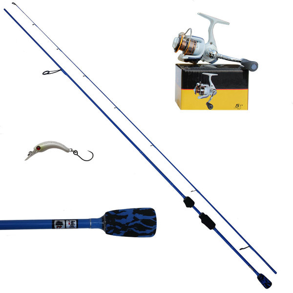 Ultraleicht Fishing Set Spoon Köder Rute Rolle Blau