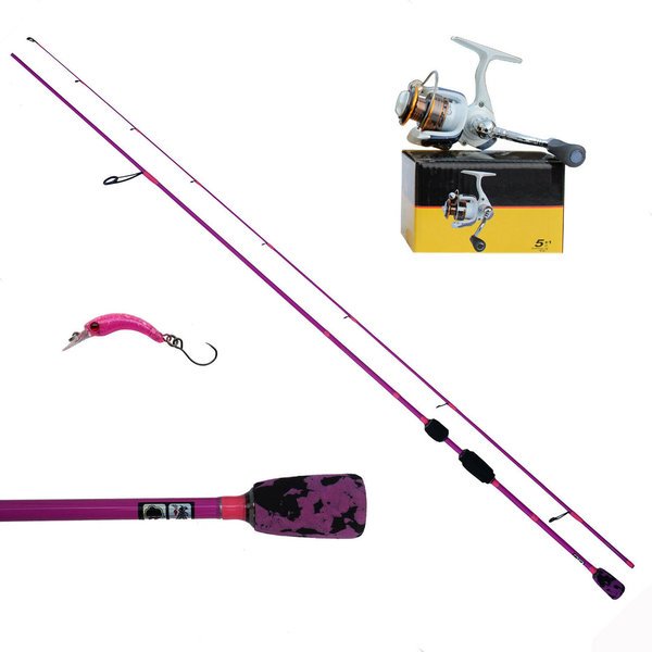 Ultraleicht Fishing Set Spoon Köder Rute Rolle Pink