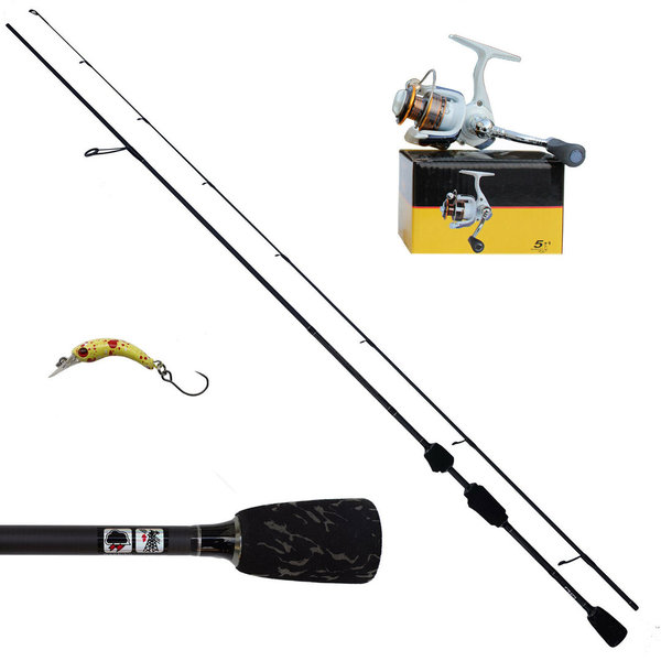 Ultraleicht Fishing Set Spoon Köder Rute Rolle Schwarz